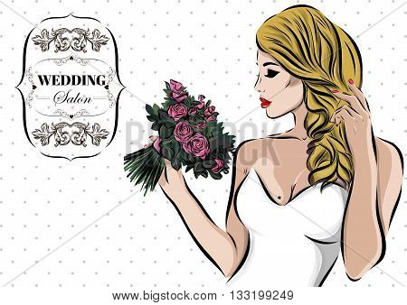 Wedding couple kiss. Newlywed Vector sketch EPS.
