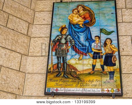 NAZARETH ISRAEL - MARCH 24: Panel of glazed tiles depicting the Virgin Mary Basilica of the Annunciation in Nazareth Israel on March 24 2016