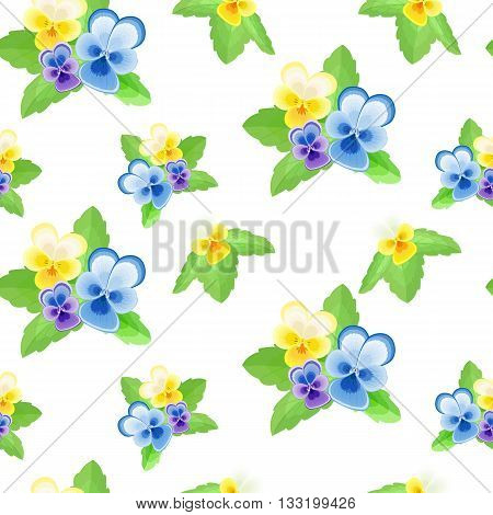 Pansies on white background.Cute floral seamless pattern with flowers of different colors.Summer vector illustration.Can be used for fabrictextilewrapping paper.