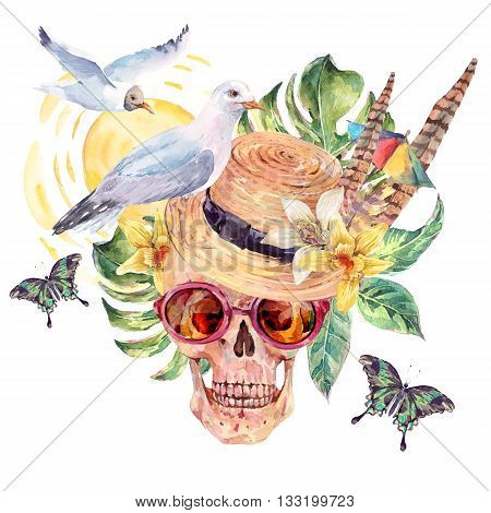 Summer sea watercolor skull straw hat sea gull tropical leaves flowers exotic butterflies and feathers Hand painted nautical illustration isolated on white background. Vintage objects art