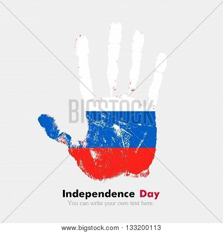 Hand print, which bears the Russian flag. Independence Day. Grunge style. Grungy hand print with the flag. Hand print and five fingers. Used as an icon, card, greeting, printed materials.