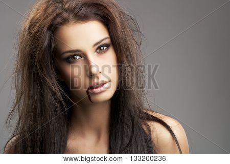 very beautiful young girl with alluring eyes
