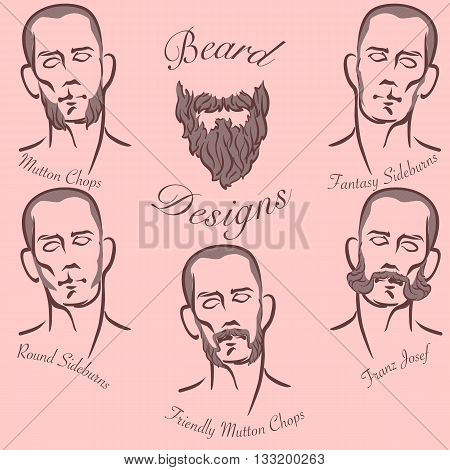 Popular styles of sideburns and sideboards grooming. EPS8 vector set.
