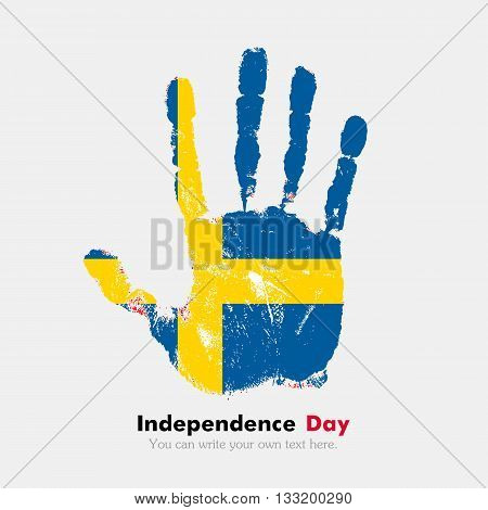 Hand print, which bears the Sweden flag. Independence Day. Grunge style. Grungy hand print with the flag. Hand print and five fingers. Used as an icon, card, greeting, printed materials.