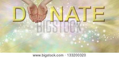 Donate what you can fundraising banner - cupped female hands in place of the O of DONATE on a sparkling yellow / gold bokeh effect background with copy space beneath