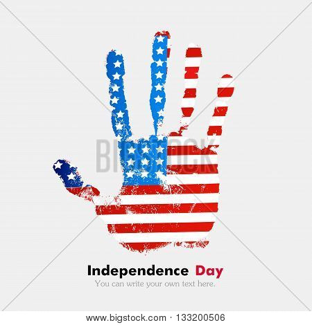 Hand print, which bears the USA flag. Independence Day. Grunge style. Grungy hand print with the flag. Hand print and five fingers. Used as an icon, card, greeting, printed materials.