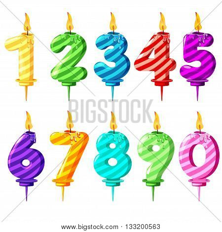 multi Colored Numbered Birthday Candles in vector