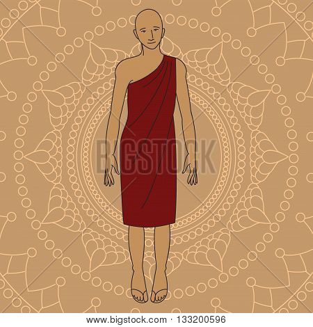 Outline buddhist monk. Isolated icons vintage decorative elements. Indian, Hindu religion motifs design