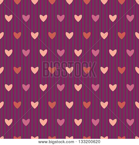 Cute burgundy seamless pattern with hearts and vertical stripes in the style of shabby chic.Vector illustration.