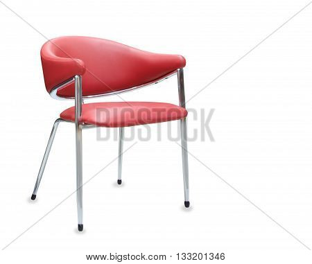 Modern office chair from red leather. Isolated