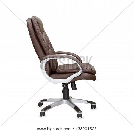 The profile view of office chair from brown leather. Isolated