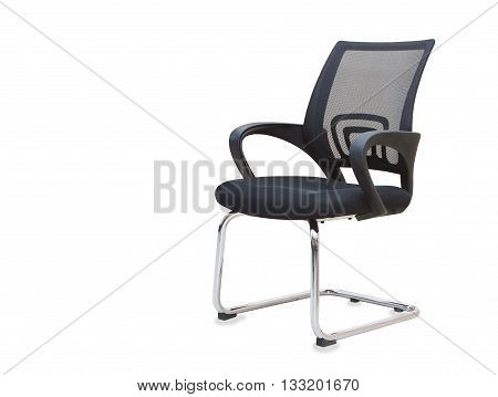 Modern office chair from black cloth isolated over white