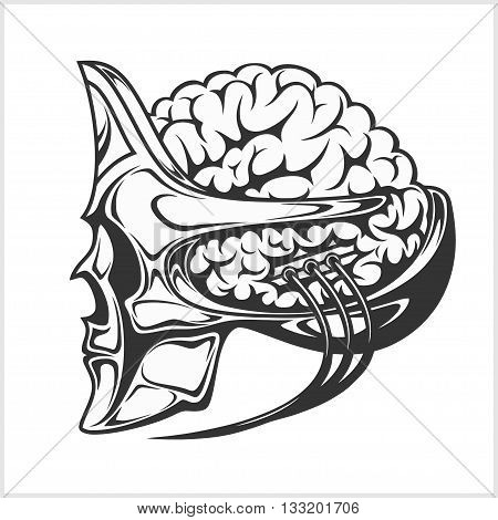 Robotic alien with a big brain in a skull helmet - isolated on white.