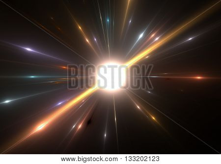 Star explosion with particles on a black background. Illustration