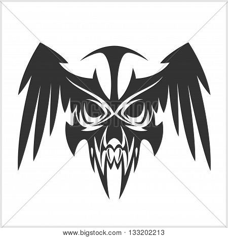 skull with wings in tribal style - sticker tattoo in vector