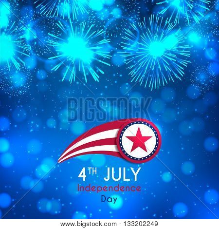 Happy Independence Day illustration. Color banner with fireworks and lights on the blue background. American Independence Day celebration backdrop with effect bokeh. Vector illustration.