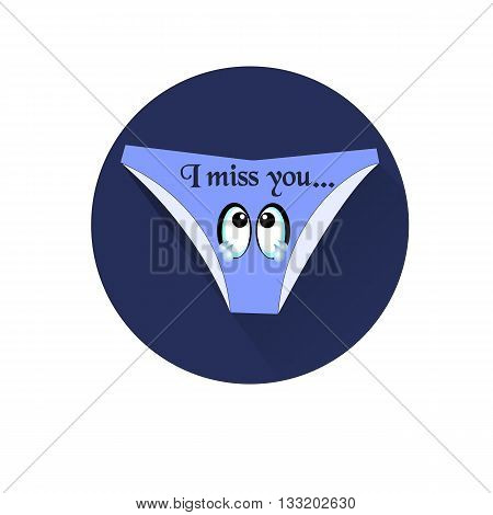 Blue womens panties with crying eyes. Vector funny icon
