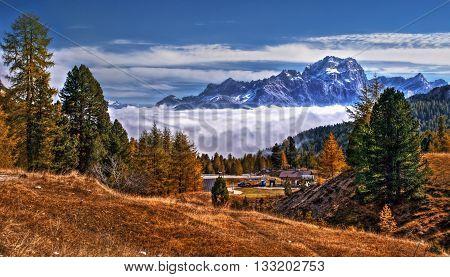 Dolomites Italy - View from passo Falzarego to massif Sorapiss