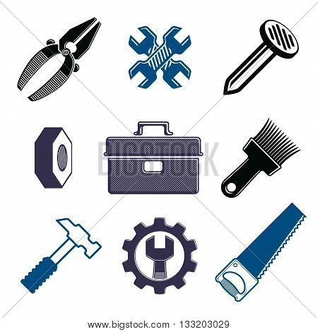 Work tools collection vector repair instruments for carpentry and manufacturing. Set of elements for use in graphic design.