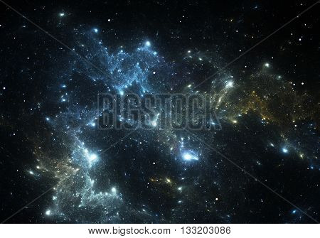Space background and stars with blue space nebula