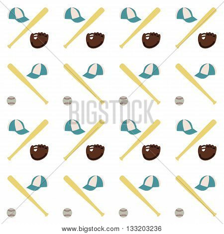 Sports seamless background with elements of the equipment for baseball baseball bat Ball glove and cap vector illustration.