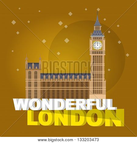 High quality, detailed most famous World landmark. Vector illustration of the Big Ben, the symbol of London and United Kingdom. Travel vector. Travel illustration. Travel landmarks. Happy travel