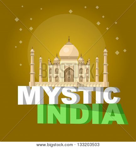 High quality, detailed most famous World landmark. Vector illustration of Taj Mahal an ancient Palace in India. Travel vector. Travel illustration. Travel landmarks. Happy travel