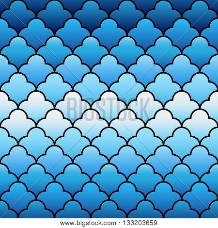 Blue arabic traditional geometric quatrefoil seamless pattern, vector background