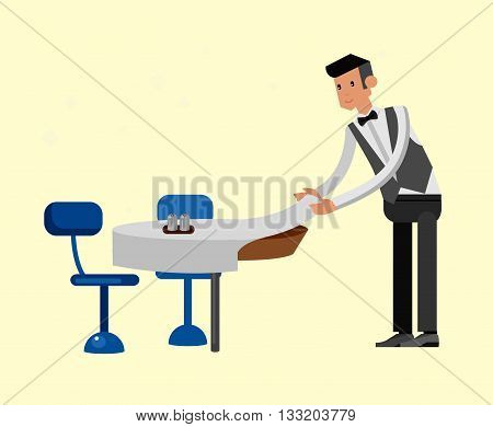 Vector detailed character people in the restaurant, service for public and personnel, waiter served tables. Vector restaurant illustration