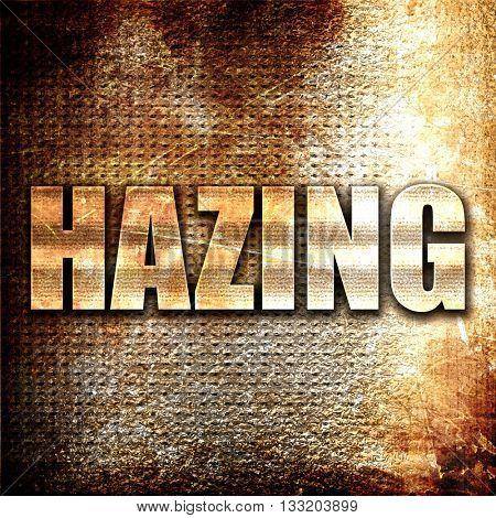 hazing, 3D rendering, metal text on rust background