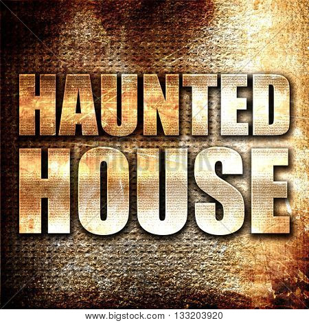 haunted house, 3D rendering, metal text on rust background