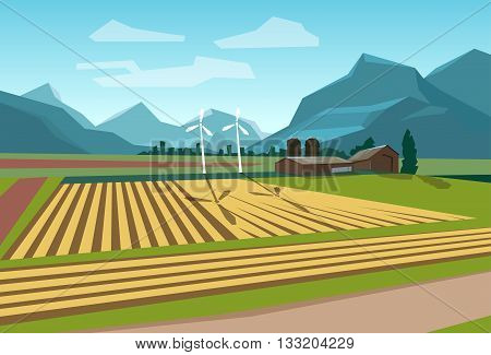 Farm Field With Wind Turbine Alternative Energy Resource Flat Vector Illustration