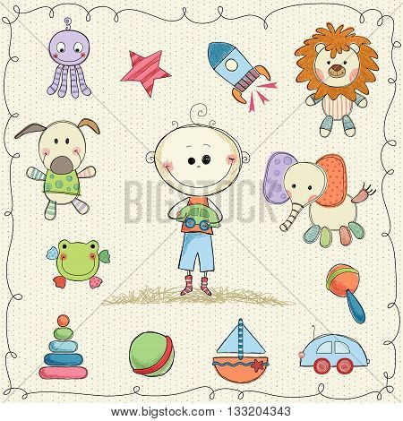 Hand drawn child's toys with little boy and frame. Seamless background.