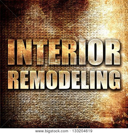 interior remodeling, 3D rendering, metal text on rust background