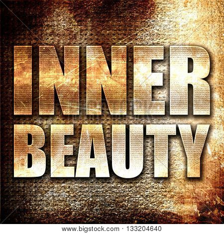 inner beauty, 3D rendering, metal text on rust background