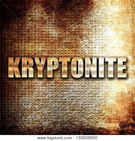 kryptonite, 3D rendering, metal text on rust background