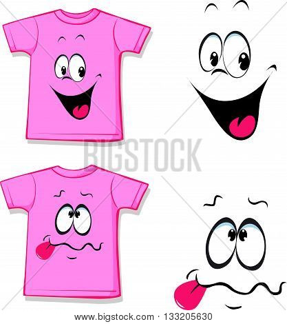 printed pink T-shirt - funny face - vector illustration