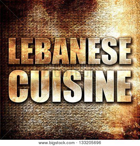 lebanese cuisine, 3D rendering, metal text on rust background