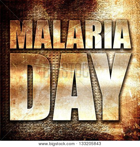 malaria day, 3D rendering, metal text on rust background