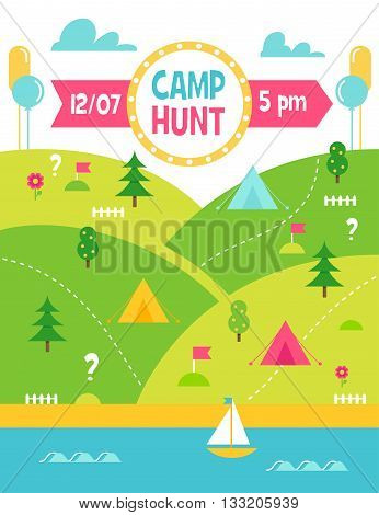 Summer Camp Hunt, Quest and Outdoor Activities. Landscape Vector Poster