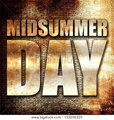 midsummer day, 3D rendering, metal text on rust background