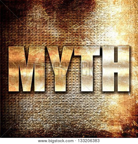 myth, 3D rendering, metal text on rust background