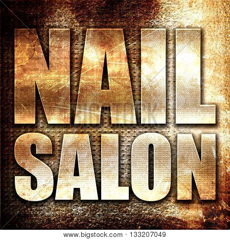 nail salon, 3D rendering, metal text on rust background