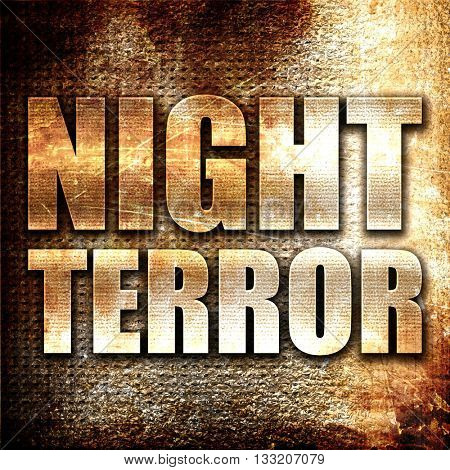night terror, 3D rendering, metal text on rust background