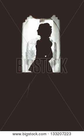 Silhouette of a girl from the past, with a high hairdo in a ball gown.