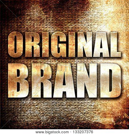 original brand, 3D rendering, metal text on rust background