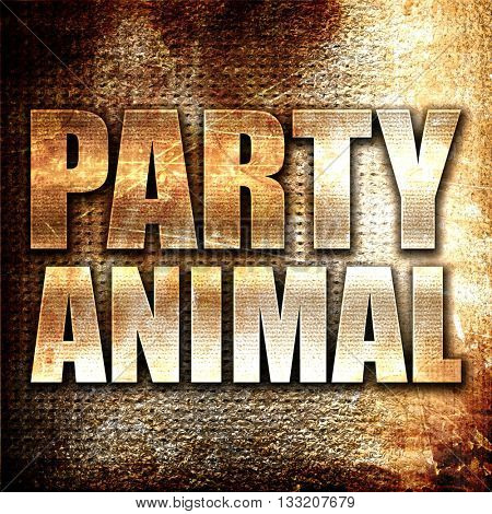 party animal, 3D rendering, metal text on rust background