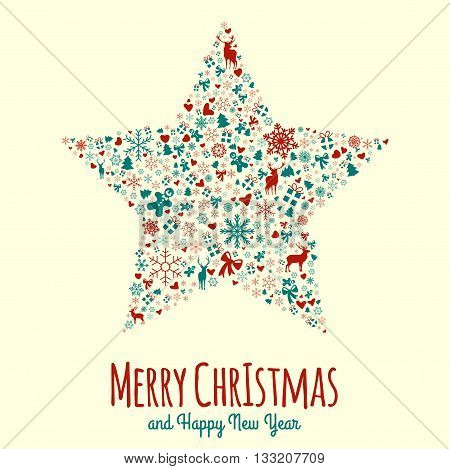 Beautiful vintage Christmas greeting card design wit cool pattern. Easy to manipulate, re-size or colorize.