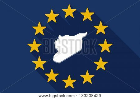 Long Shadow Eu Flag With  The Map Of Syria