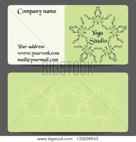 Yoga business card with flower ornament. Vector template with front and back side. Gift card, visit card, yoga studio, spa center, healthcare